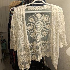 White Kimono with Embroidery